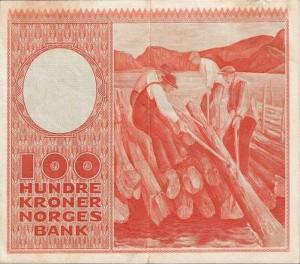 Erik Werenskiold, Lensekara, 1938. Motivet frå Kviteseid pryda hundrekroner-setelen til Noregs Bank frå 1949.